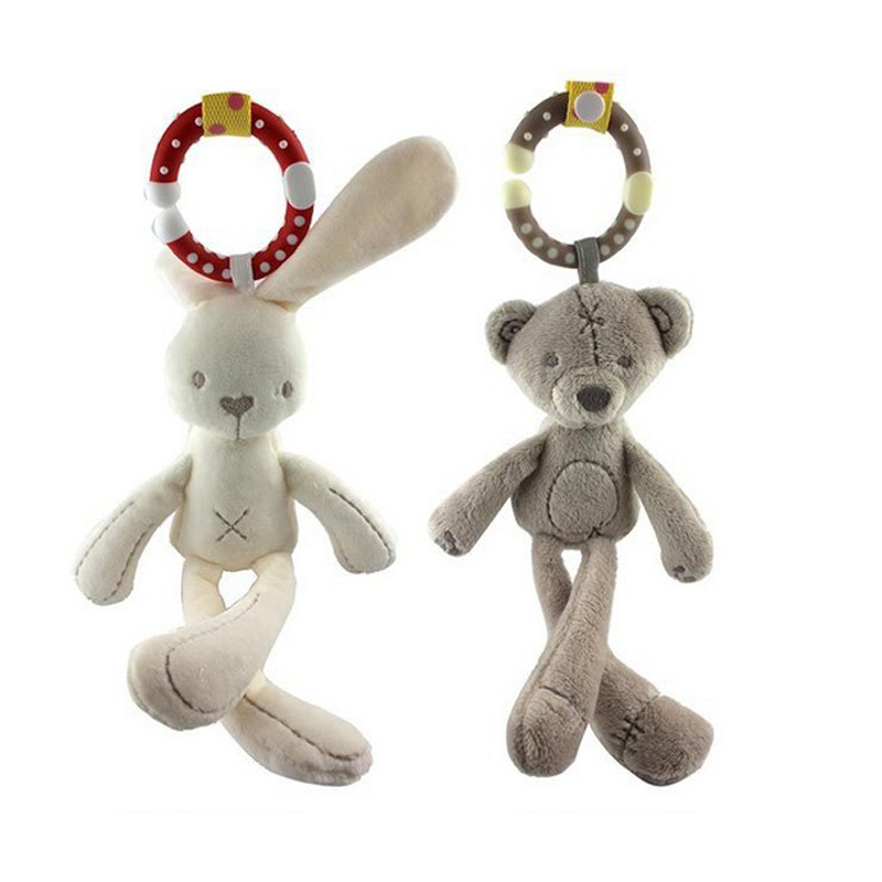 Baby Infant Rattles Plush Rabbit Stroller Wind chimes Hanging Bell Toy Doll Soft Bed Gift Appease Toys WJ292 infant toys plush bed wind chimes crib hanging bells mechanical music box mobile bed bell toy holder