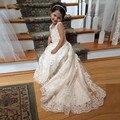 2016 de Encaje de Flores Vestidos de Las Muchachas Para Las Bodas Con Cuello En V Espaguetis Lentejuelas Appliques Tulle del Barrido Del Satén Tren Vestidos Del Desfile Para Las Niñas