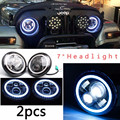 1set 7 inch Projectors LED Headlight For Jeep Wrangler Patriot Liberty Harley FJ Cruiser Land Rover Defender With Halo Ring