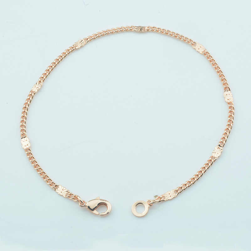 2mm Women 585 Rose Gold Color Curb Chains Smart Anklets Jewelry Bracelet/Foot Chains 25cm 27cm Long Anklet