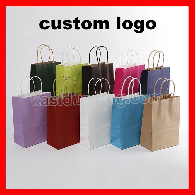 Bolsa de Presente de Papel com Alças Logotipo Personalizado 500cs – Lot