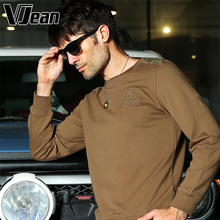 V JEAN Mens Camouflage Print Contrast Round Neck Shirt with Long Sleeves