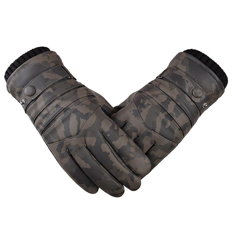Men Camouflage Winter Velvet Warm Windproof Ski Driving Gloves Touch Screen Gloves