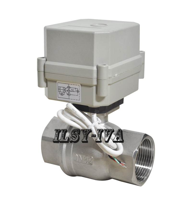 AC110~230V 2 way SS304 electric actuator valve,DN32\DN40\DN50 motorized valve with Indicator dc5v 2nm multi wire control electric actuator with indicator and manual override