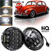 Marloo Car LED 7 Inch Round Headlight Conversion Kit For VW Beetle Classic Volkswagen 1950 1979 For Jeep Wrangler Hummer Harley