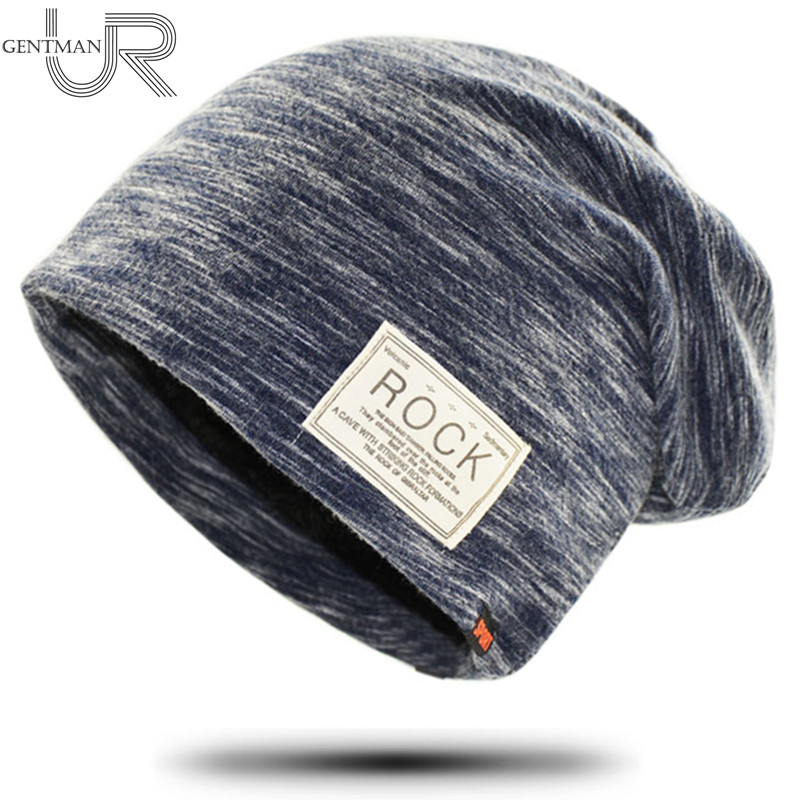 New Women And Men ROCK Cloth Mark Hat Plus Cashmere Winter Hat For Women Fashion Warm   Beanie   3 Colors Sports Winter Caps
