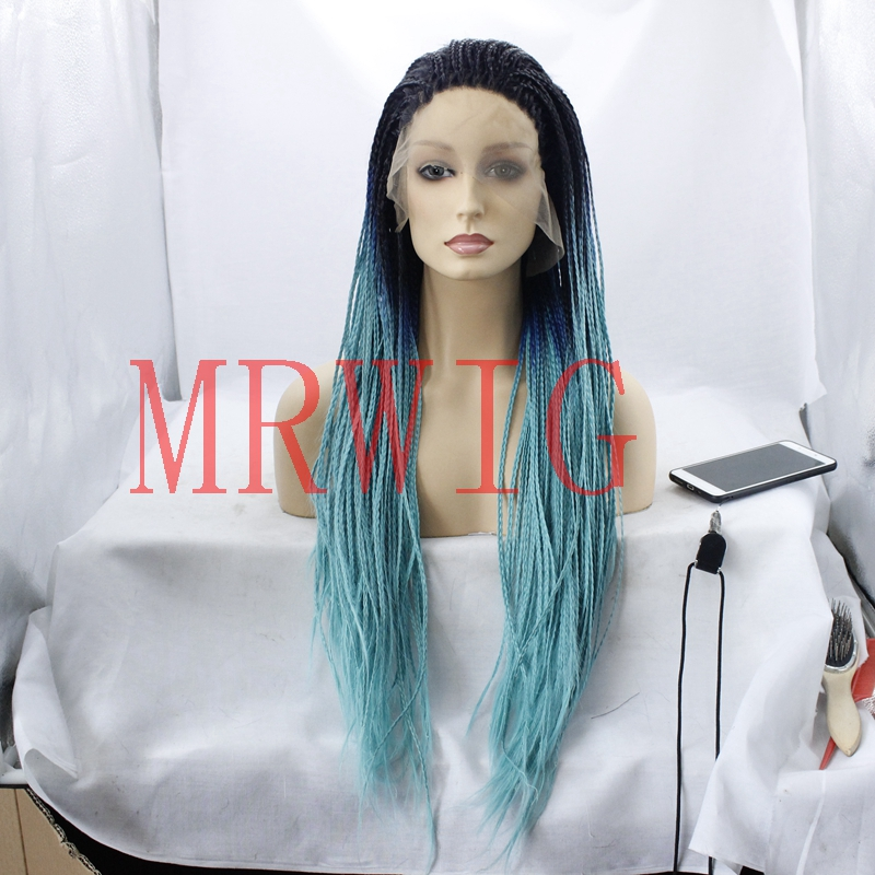 MRWIG Braided Box Braids Wig Long Hair Ombre Front Lace Wig Glueless Free Part 650G Three Tone for Lady 200Density