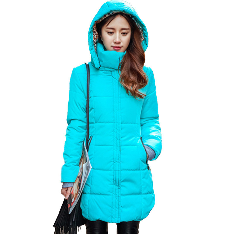 Autumn Winter Jacket Women Thick Hooded Cotton-Padded Jacket Plus Size Slim Cotton Coat Candy Color Parka 6XL SS926 lovely autumn winter lover cotton padded women