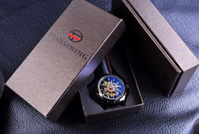 Forsining Motorcycle Design Transparent Genuine Red Black Belt Waterproof Skeleton Men Automatic Watches Top Brand Luxury Clock 5