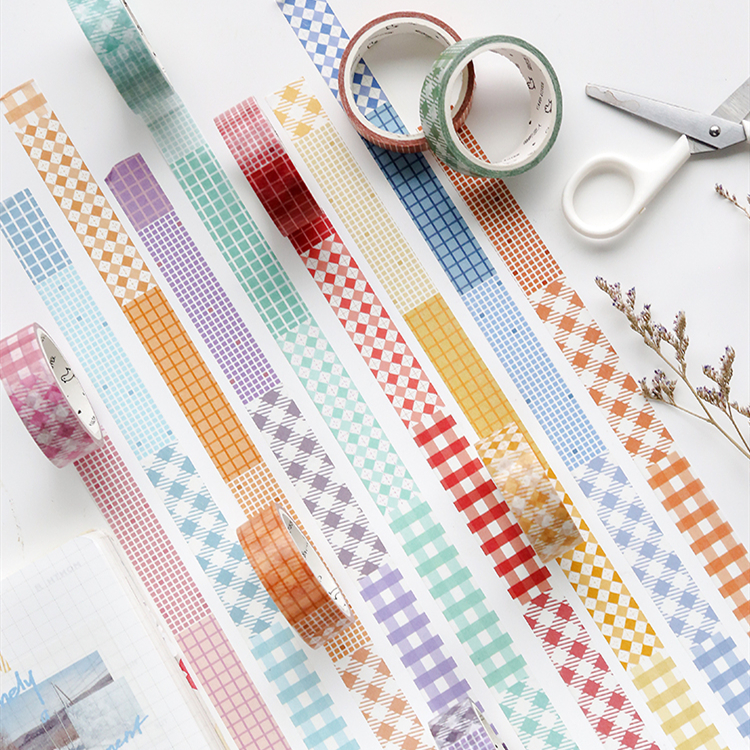 15mm Wide Color Plaids Checks Grid Control Square Grid Collage Washi Tape DIY Planner Diary Scrapbooking Masking Tape Escolar