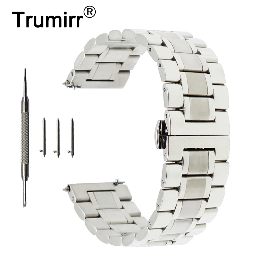 20mm 22mm Stainless Steel Watch Band for Fossil Quick Release Strap Butterfly Buckle Wrist Belt Bracelet Black Silver Grey цена