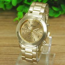 Newly Design Ladies Women Geneva Watches Golden Stainless Steel Quartz Wrist Watch 160520 Drop Shipping