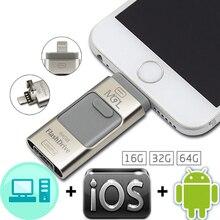 Здесь можно купить  Metal i-Flash Drive 16gb 32gb 64gb Dual Ports USB/Lightning For iPhone 5/5s/5c/6/6 Plus/ipad/ipod PC/MAC Otg Usb Pen Drive  External Storage