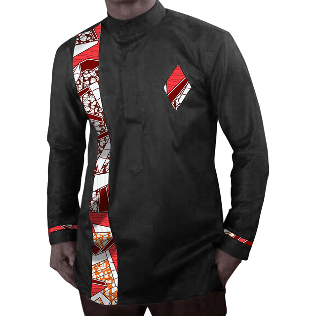Africa style long sleeve tops printed mens dashiki clothes stand collar african shirt tailored made africa clothing