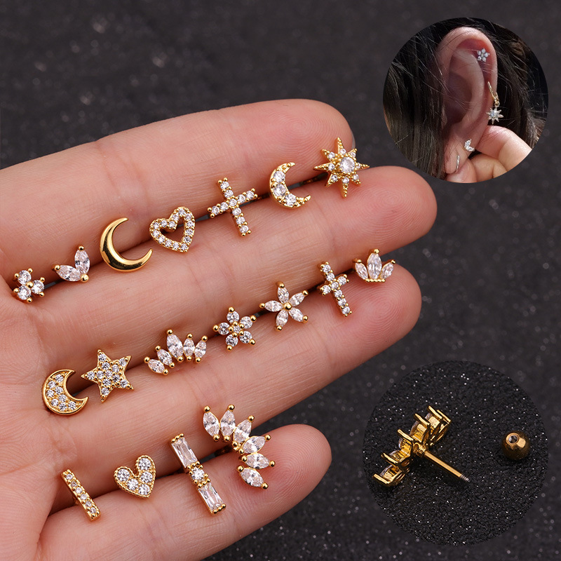 Conch Earring Tragus Stud Flower-Crown Helix Piercing Cz Star Gold Cartilage Stud-Moon
