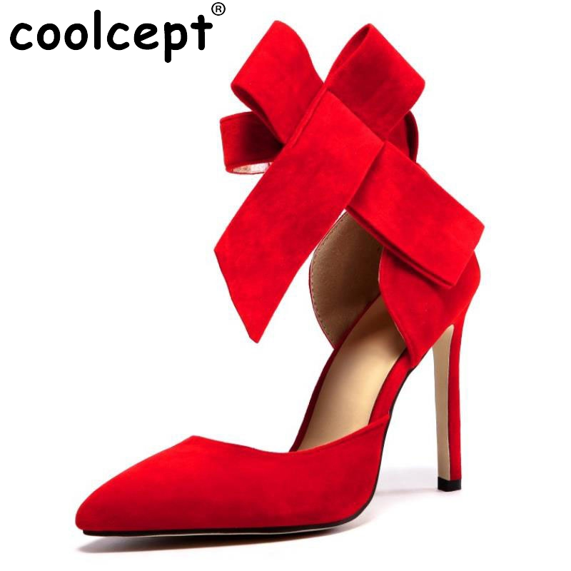 ФОТО 5Colors Size 33-43 Lady Real Leather High Heel Pumps Bowtie  Pointed Flock High Heels Shoes Women Sexy Party Wedding Footwear
