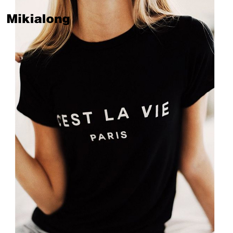 T Shirt Women 2019 Summer Camiseta Mujer Short Sleeve Poleras Mujer Top Tee Shirt Femme Paris Printed Tshirts Cotton Women Tops