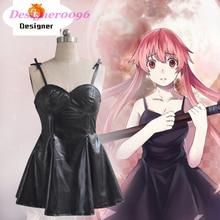 цена на Anime cosplay costume Mirai Nikki Gasai Yuno Cosplay woman Anime black leather skirt Sling dress Costume party dress XS-XL