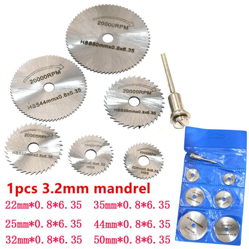 7 In 1 HSS Circular Saw Blade Rotary Tool For Dremel Metal Cutter Power Tool Set Wood Cutting Discs Drill Mandrel Cutoff