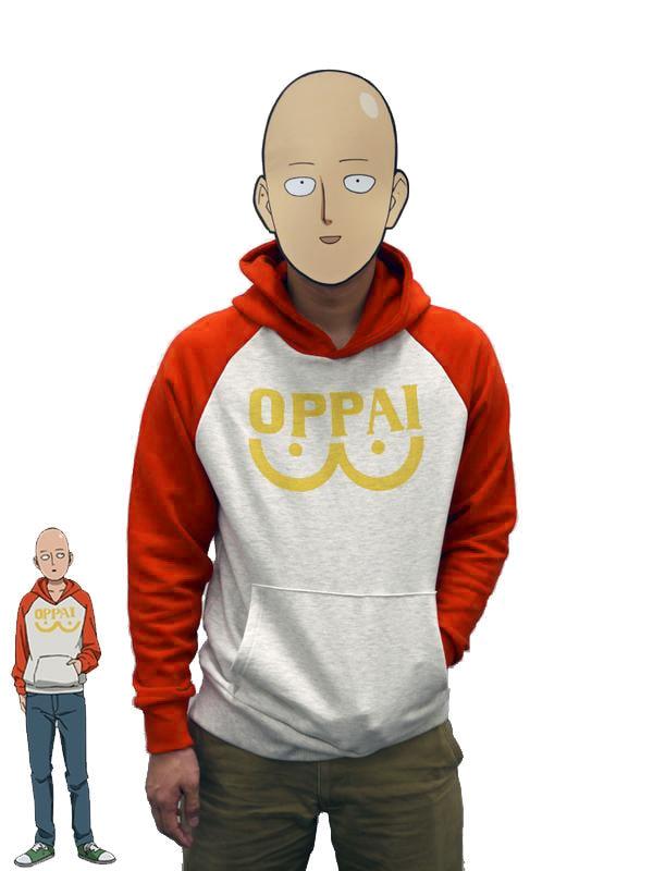 One Punch Man Hero Saitama Oppai Hoodie Japanese Anime Cosplay Costume Hooded Jacket Hoodies