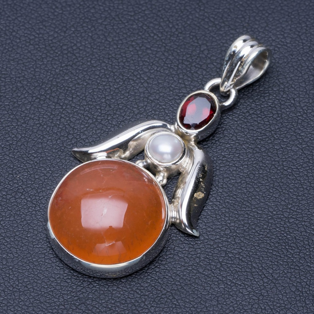 Natural Carnelian,River Pearl and Garnet Punk Style 925 Sterling Silver Pendant 2 Q0724Natural Carnelian,River Pearl and Garnet Punk Style 925 Sterling Silver Pendant 2 Q0724