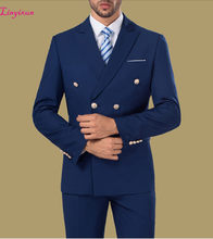 Linyixun Cheap Double breasted Formal Suits Blue Burgundy White Mens Suits 3 Pieces Groomsman Suit Wedding Party Suit(China)