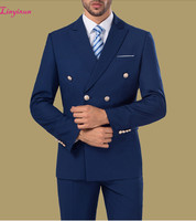 Linyixun Cheap Double breasted Formal Suits Blue Burgundy White Mens Suits 3 Pieces Groomsman Suit Wedding Party Suit