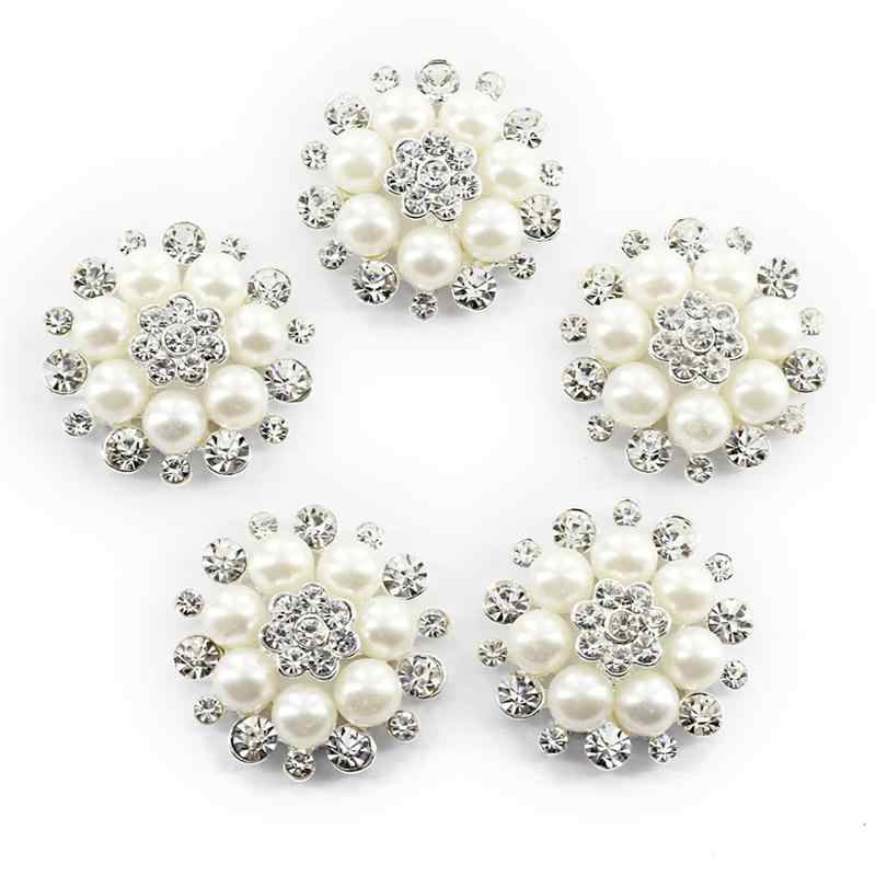 10pcs Faux Pearl Flower Buttons Embellishments for Craft Shank Clear Rhinestone Buttons Sewing Craft(Silver)
