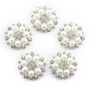 10pcs Pearl Flower Rhinestone Buttons Sewing Silver 485326ed5c3e