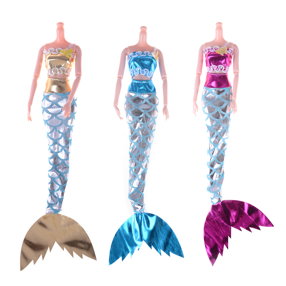 2PCS/set Doll Cosplay Princess Doll Party Dress Gown Skirt Mermaid Dress For  Doll Swimming Clothes Child Gift Best Girl'