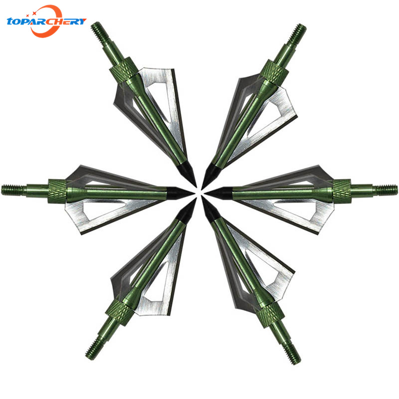 6 unids/lote verde flecha broadhead para ballesta arco recurvo Caza ...