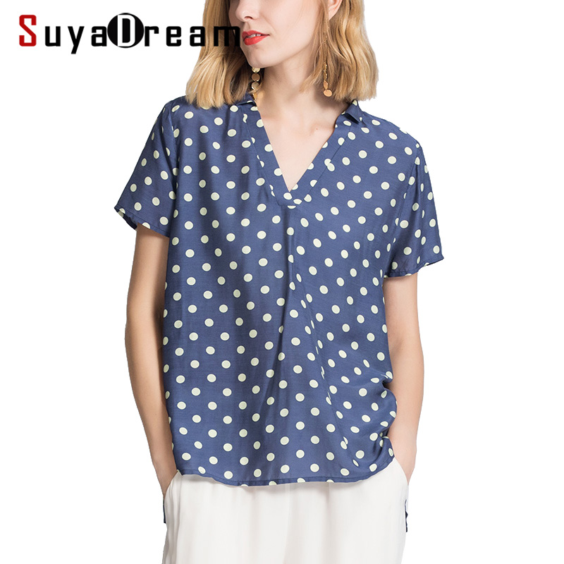Women T SHIRT 50 Real silk 50 Cotton casual Top Short sleeved Dots Printed shirt Blusas