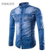 Brand Men Shirt Chemises en Denim Homme 2015 Fashion Jeans Design Mens Slim Fit Long Sleeve Cotton Shirt Chemise Homme Camisa