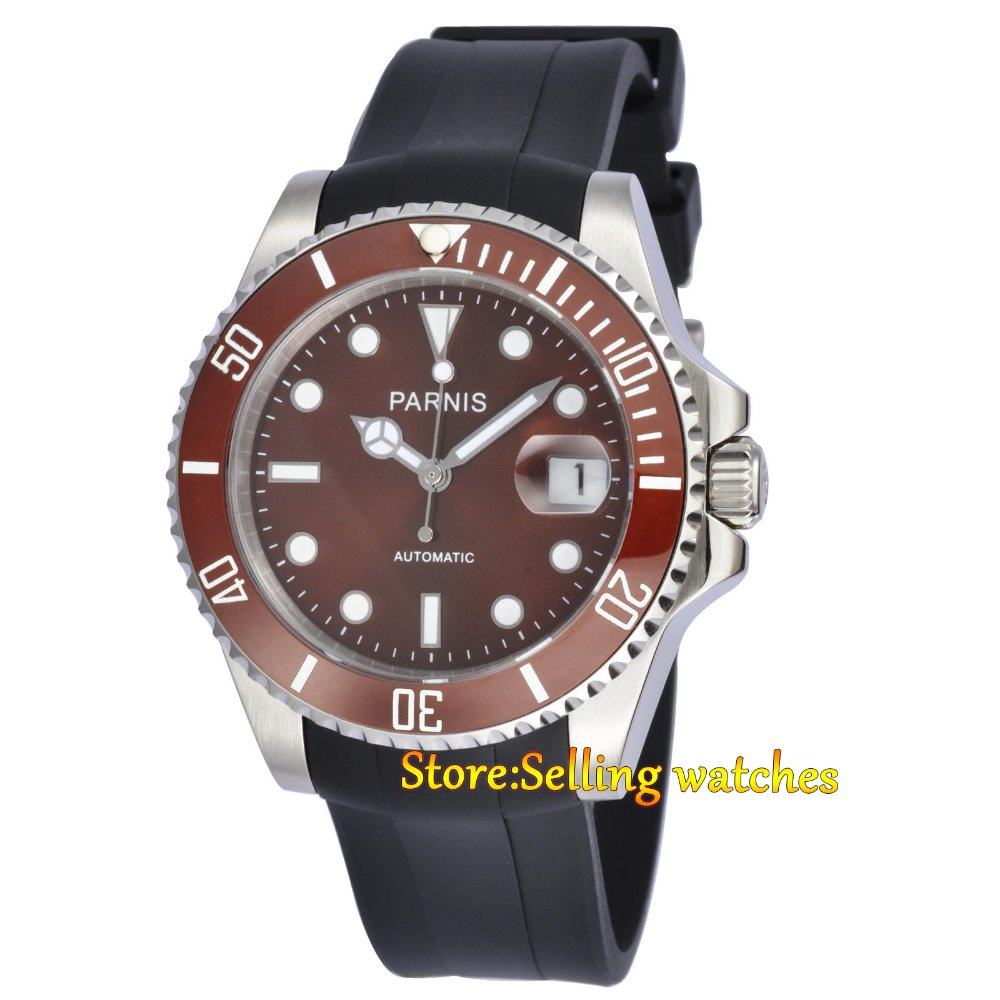 Parnis 40mm Coffee dial Ceramic Bezel sapphire glass Miyota automatic mens watch цена