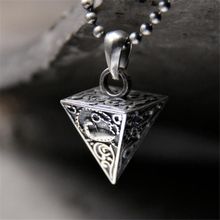 925 Sterling Silver 3D Triangle Pyramid Necklace Pendant Geometric Charm Friend Gift Collier 15.8*23.5MM 8G