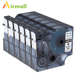 Airmall 6 Pack/lot Compatible DYMO D1 Label Tapes 12mm black on clear 45010 for DYMO LabelManager 160 280 420P PnP 220P 360D