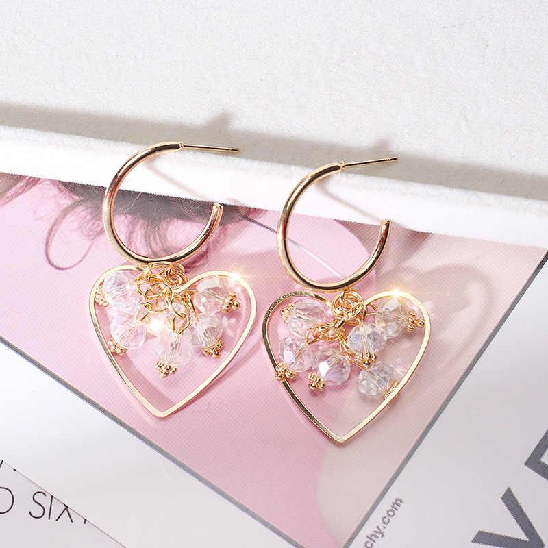 6aaf95627232a7 ... FYUAN Fashion Korean Style Big Heart Hoop Earrings Luxury Gold Color Crystal  Earring for Women Party ...