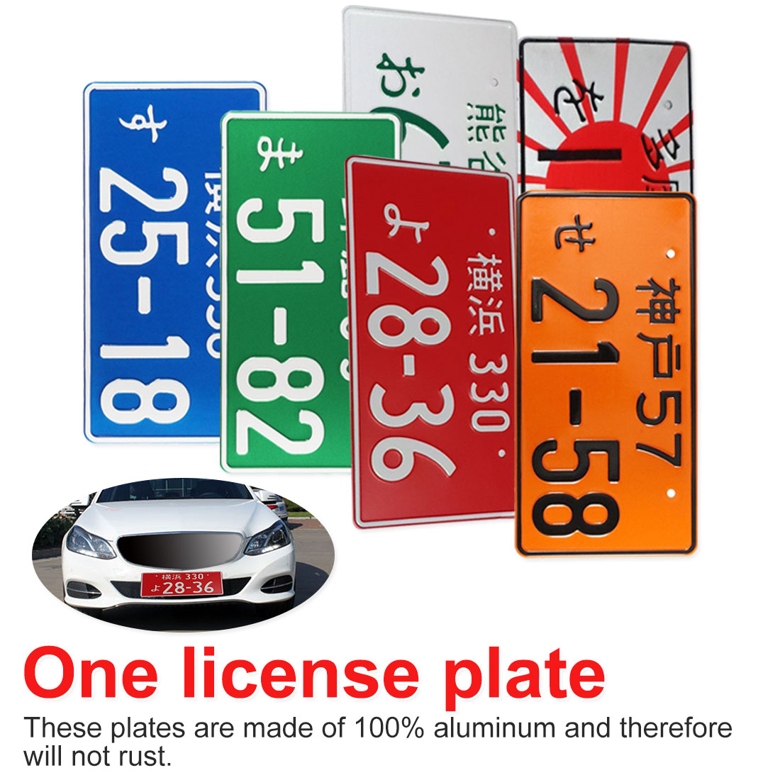 For Bicycle Scooter Plate Aluminum Tag Universal Car Motorcycle Japanese For Racing Plates License