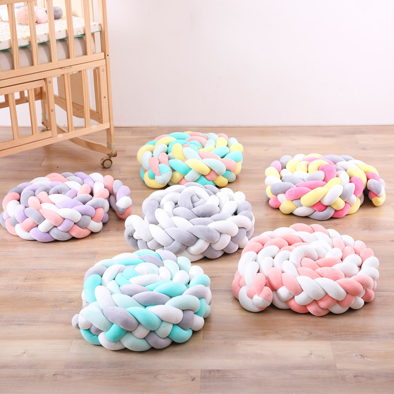 2M/3M Baby Handmade Knot Soft Newborn Bed Bumper Long Knotted 4 Braid Pillow Baby Bed Bumper Knot Crib Infant Room Bed Decor