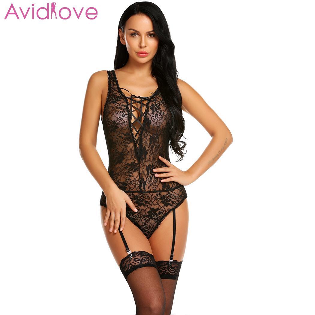Avidlove Women Bodystocking Sexy Costumes Bodysuit Sleepwear Sexy V-Neck Front Criss Cross See Through Garter Belt