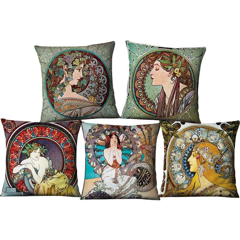 Vintage européen Art Nouveau Mucha galerie décoratif canapé taie d'oreiller belle beauté fille Pating lin luxe coussin Cove