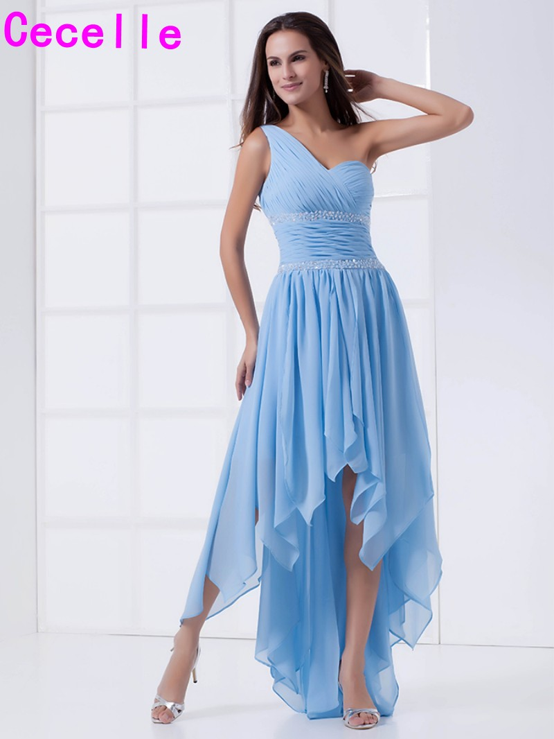 Bridesmaid beach dress promotion shop for promotional bridesmaid 2017 real blue high low beach bridesmaid dresses one shoulder beaded pleats chiffon ruffles informal wedding party gowns robes ombrellifo Choice Image