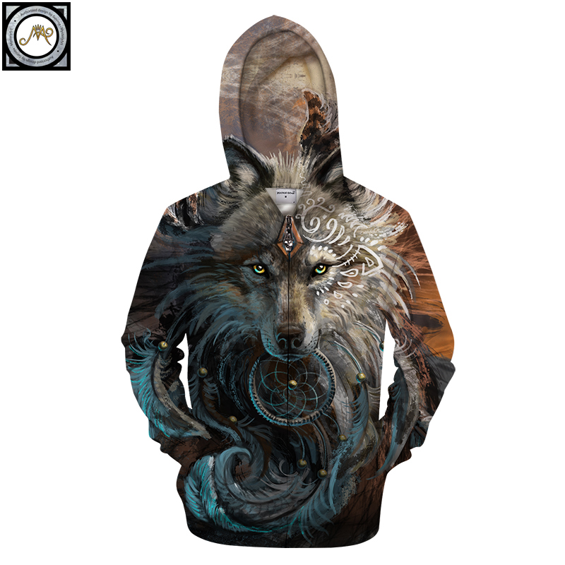 Wolf Warrior by SunimaArt Hoodies Zipper Hooded Sweatshits Drop Ship Animal Hoodie Brand Tracksuits Unisex  Pullover Male Coat