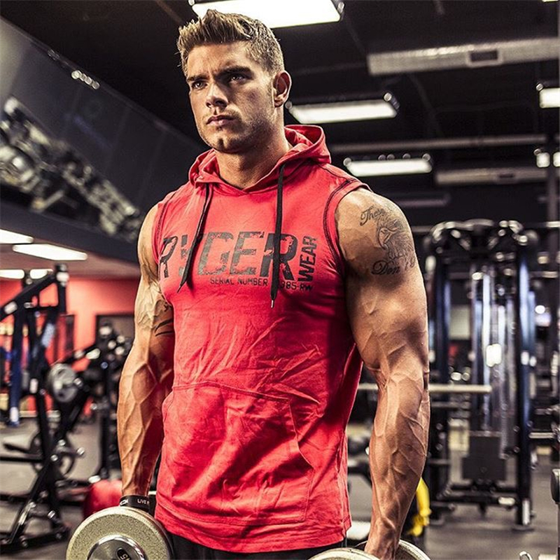 Summer Brand Clothing Bodybuilding Letters Fitness Men Gyms Hooded   Tank     Top   Vest Sportswear Sleeveless Shirt Hoodie Musculation