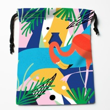 New Arrive  Flamingo Drawstring Bags Custom Storage Bags Storage Printed gift bags More Size 27x35cm DIY your picture