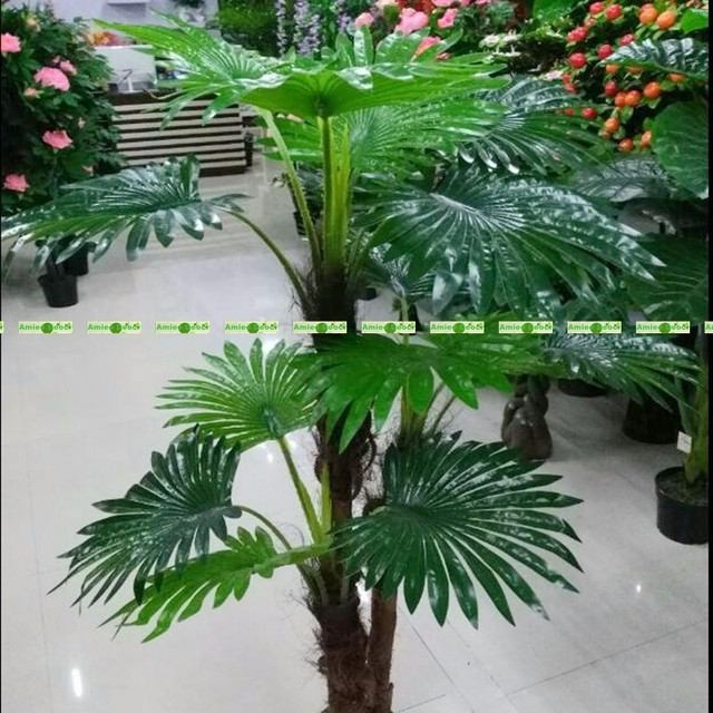 Large 1 3m Latex 3 Trunk Artificial Plant Fan Coconut Palm Phoenix Fake Tree Wedding Indoor