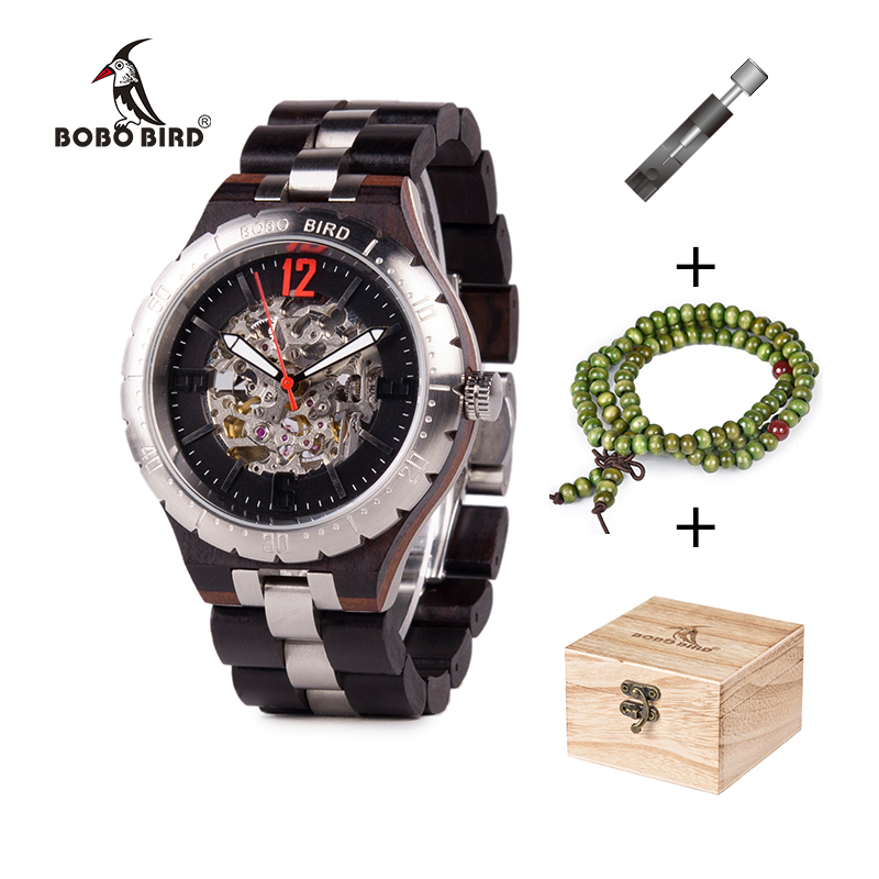 BOBO BIRD Men Mechanical Wristwatches erkek kol saati Waterproof Top Brand Luxury Automatic Watches Gift Bracelet