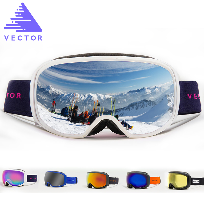 VECTOR Brand Ski Goggles Men Women Anti-fog UV400 Skiing Snowboard Goggles Spherical Big Mask Eyewear Snowboarding Glasses vector brand ski goggles men women double lens uv400 anti fog skiing eyewear snow glasses adult skiing snowboard goggles