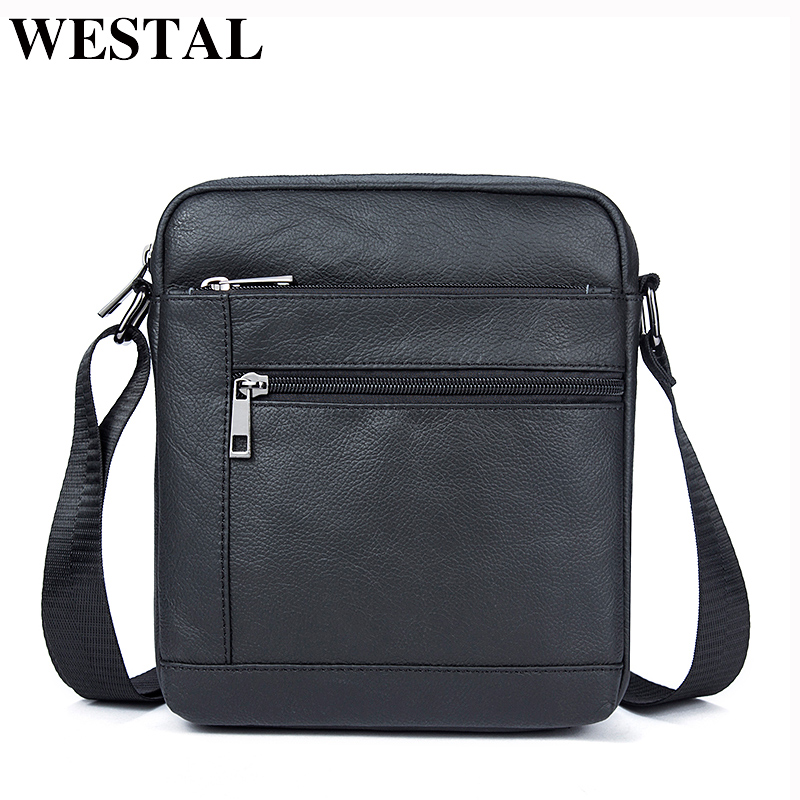 WESTAL Genuine Leather Men's Bags Crossbody Bags Flap Male Messenger Bag Men Leather Small Ipad Holder Shoulder Bag naturally