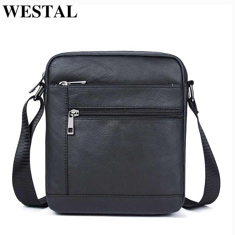 WESTAL Messenger Bag Men Genuine Leather Shoulder Bag Men's Flap Male Leather Small Ipad Holder Crossbody Bags for men naturally